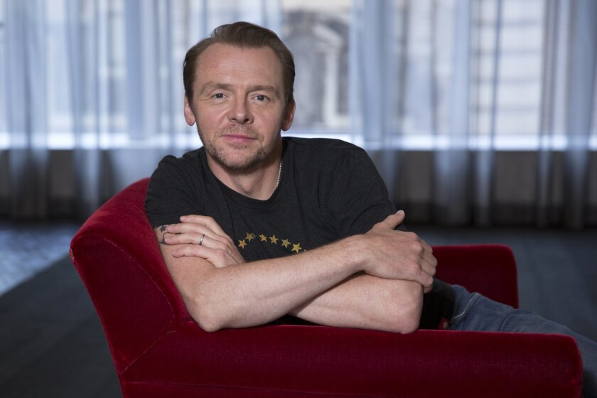"In this Tuesday, July 28, 2015 photo, Simon Pegg poses for a portrait in promotion of his role in the upcoming film ""Mission: Impossible - Rogue Nation,"" in New York. From co-writing and co-starring in ""Star Trek Beyond"" to his mysterious role in ""Star Wars: The Force Awakens,"" Pegg has too many state secrets to keep track of. On the eve of the release of his third ""Mission: Impossible"" film, the charismatic actor and writer talks to Associated Press about the state of fandom and science fiction films. (Photo by Amy Sussman/Invision/AP)"