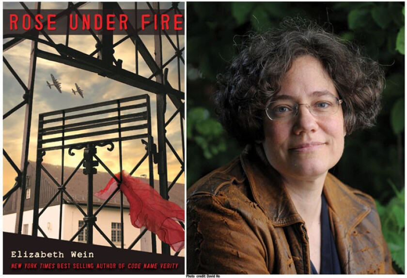 """The cover of """"Rose Under Fire"""" and author Elizabeth Wein."""