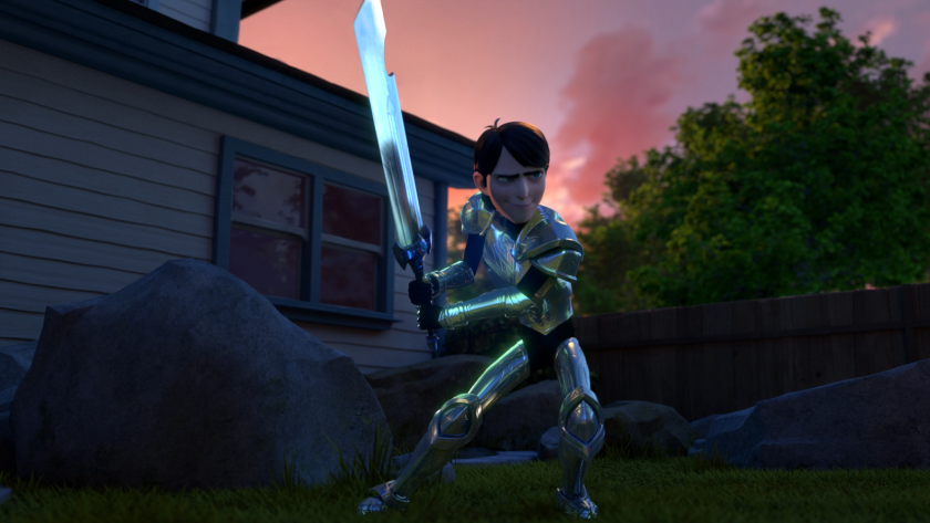 "Ordinary kid Jim (Anton Yelchin) gets acquainted with his new mystical armor in the Netflix animated series ""Trollhunters."""