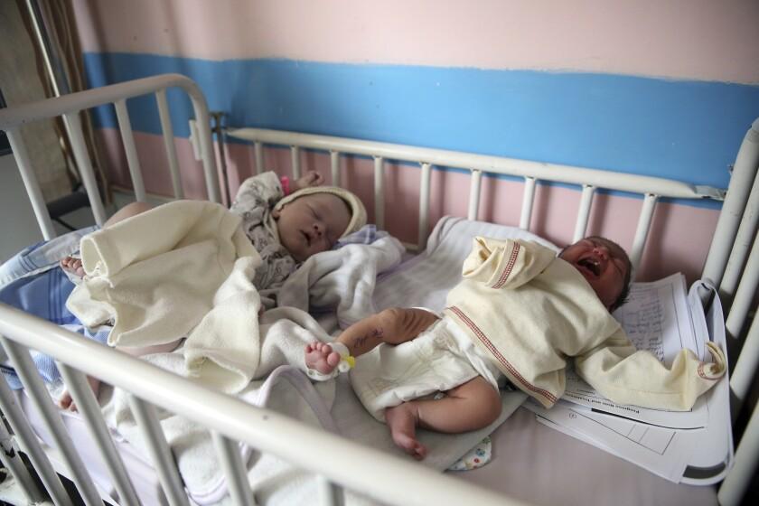 Newborn babies in their hospital beds in Afghanistan