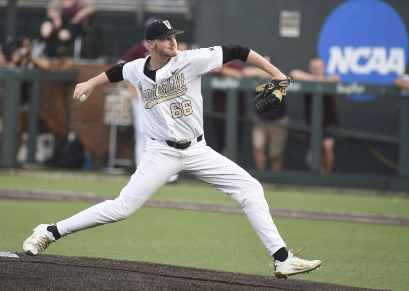 Vanderbilt starting pitcher Drake Fellows throws in the first inning of an NCAA college baseball super regional game against Mississippi State, Friday, June 8, 2018, in Nashville, Tenn.