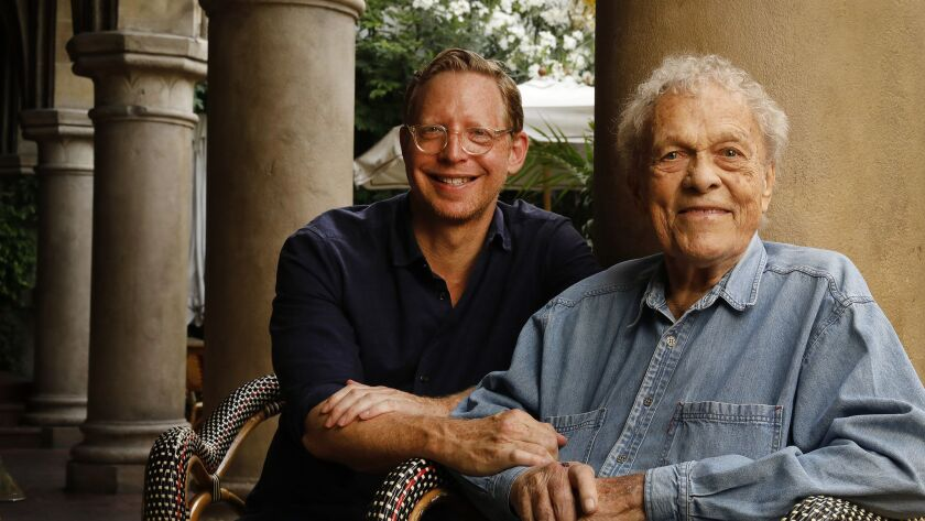 LOS ANGELES, CA – JULY 16, 2018: Film Director Matt Tyrnauer, left, with Scotty Bowers, star of ""