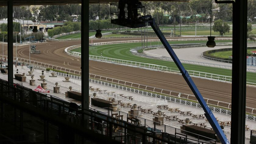 The Clockers' Corner area, the popular morning hangout for owners, trainers, jockeys and fans to watch workouts and grab breakfast at Santa Anita.