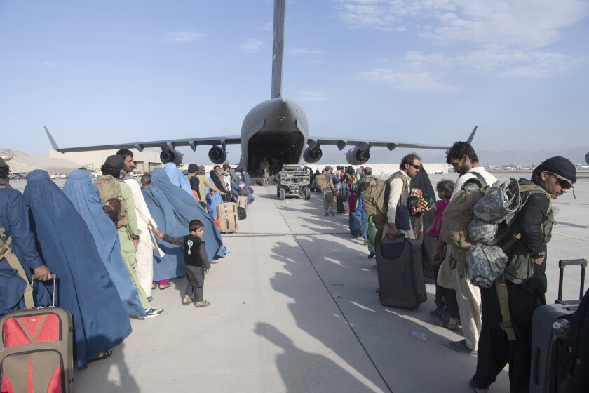 being evacuated from Afghanistan.