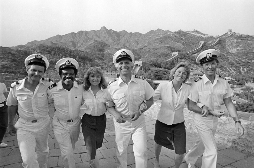 """The cast of the television series """"The Love Boat,"""" at the Great Wall near Beijing"""