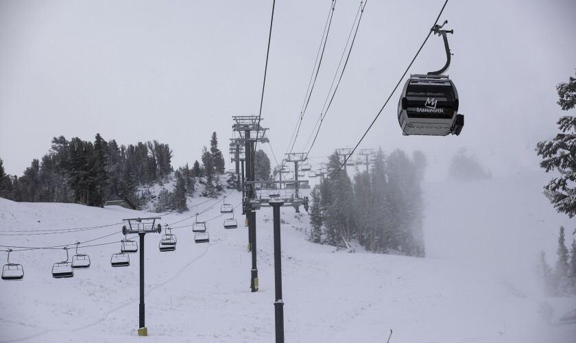 A fall Sierra Nevada storm dropped nearly a foot of snow at Mammoth Mountain and less in town in Mammoth Lakes earlier this month. A second storm dumped up to 36 inches of snow Sunday and Monday.