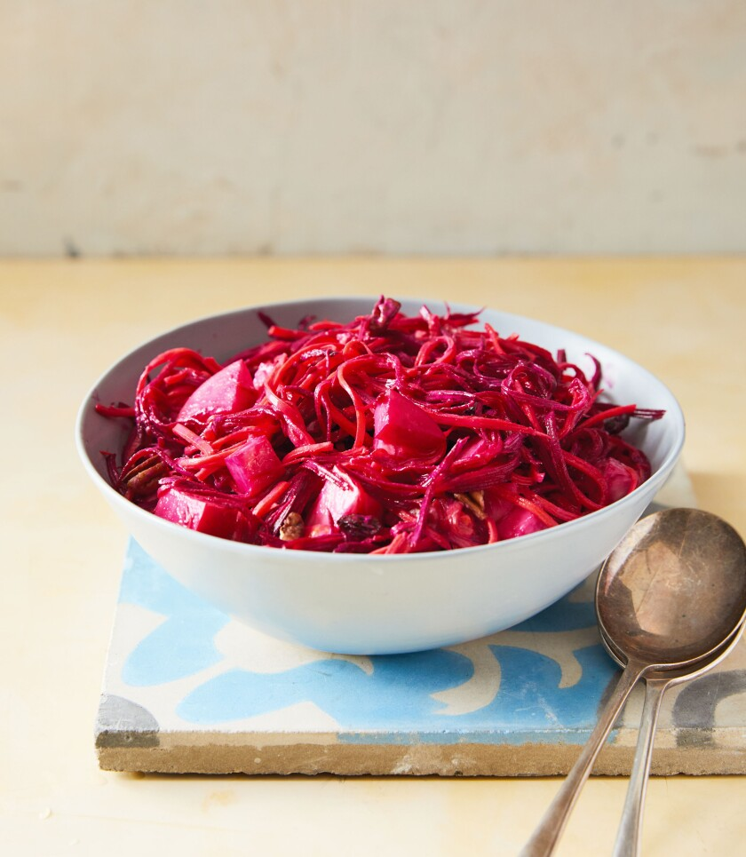 "Shredded Beet-and-Apple Slaw from the new cookbook ""Easy Everyday Mediterranean Diet Cookbook."""