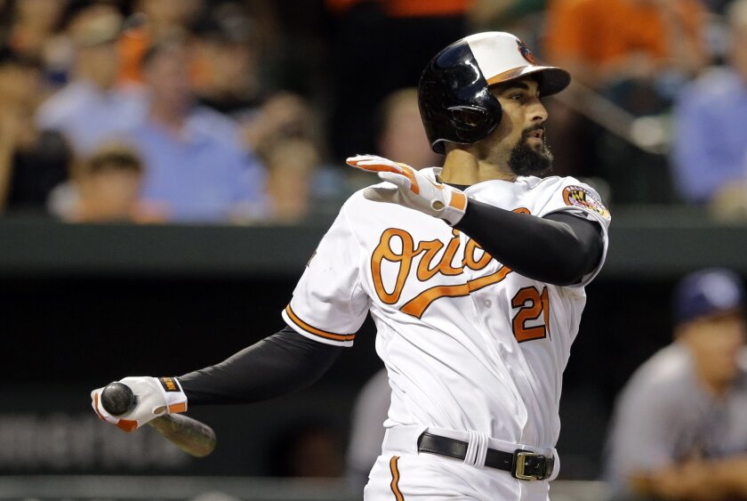 FILE - In this Aug. 25, 2014, file photo, Baltimore Orioles' Nick Markakis watches his two-run home run in the third inning of a baseball game against the Tampa Bay Rays in Baltimore. Despite enduring a miserable streak of losing seasons, Markakis never doubted he would participate in the playoffs with the Orioles. (AP Photo/Patrick Semansky, File)