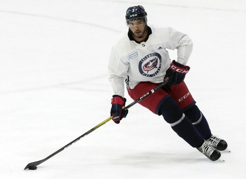 Columbus Blue Jackets defenseman Seth Jones (3) runs a drill during an NHL hockey training camp on Monday, July 13, 2020, in Columbus, Ohio. (Joshua A. Bickel/The Columbus Dispatch via AP)