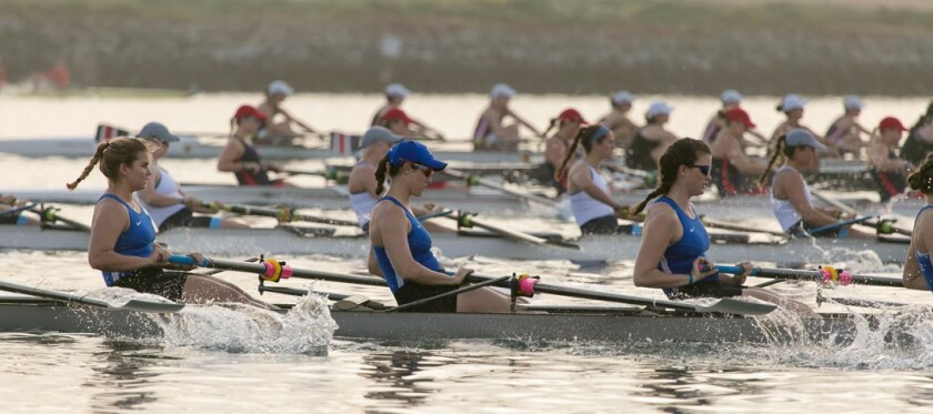 The San Diego Crew Classic is the local, spring rowing regatta, bringing competitive rowing to Mission Bay April 6 and 7.