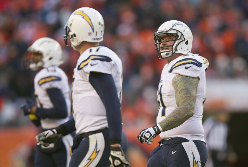 San Diego Chargers vs. The Denver Broncos at Sports Authority Field. Nick Hardwick walks off the field in the third quarter.