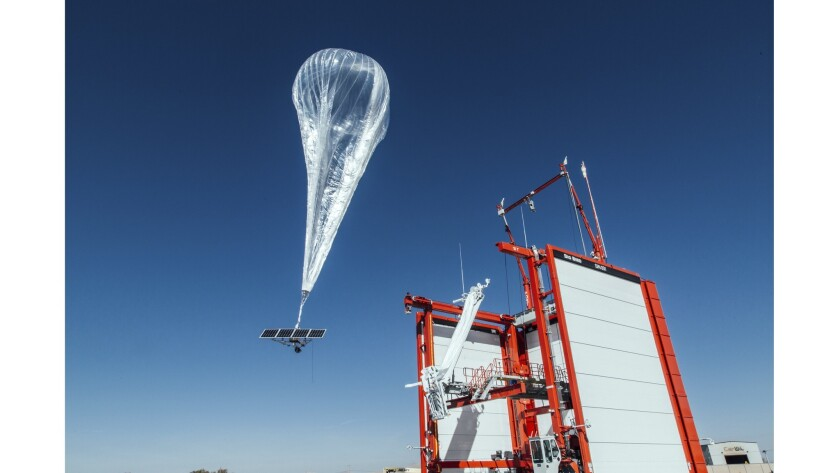 A stratospheric balloon that will help provide internet service in Puerto Rico is launched in Winnemucca, Nev.