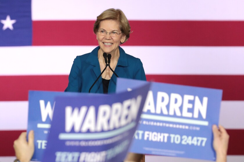 Elizabeth Warren at her primary night event in Manchester, N.H.