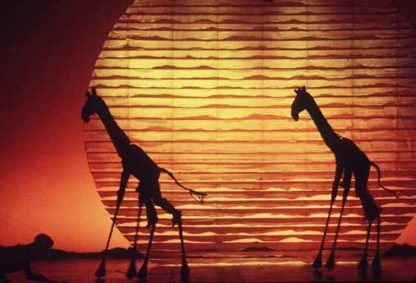 """A scene from Broadway's """"The Lion King."""" The Disney musical is set to become the fifth-longest-running show in Broadway history, surpassing """"A Chorus Line."""""""