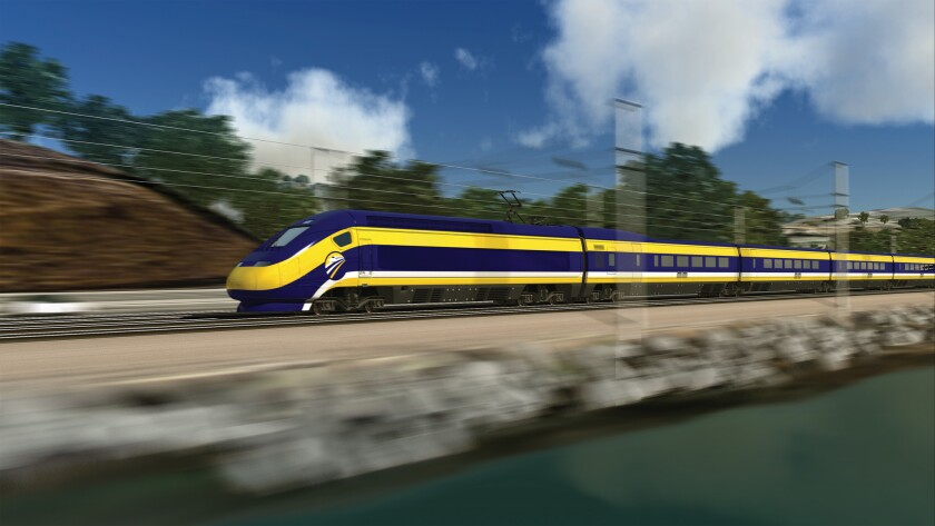 A conceptual rendering of the California high-speed rail project.