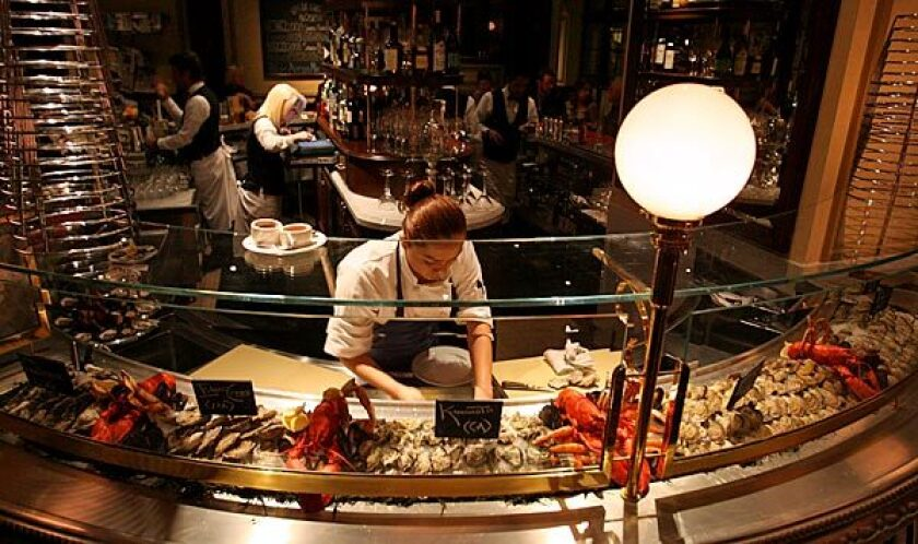 The raw bar at Bouchon in Beverly Hills.