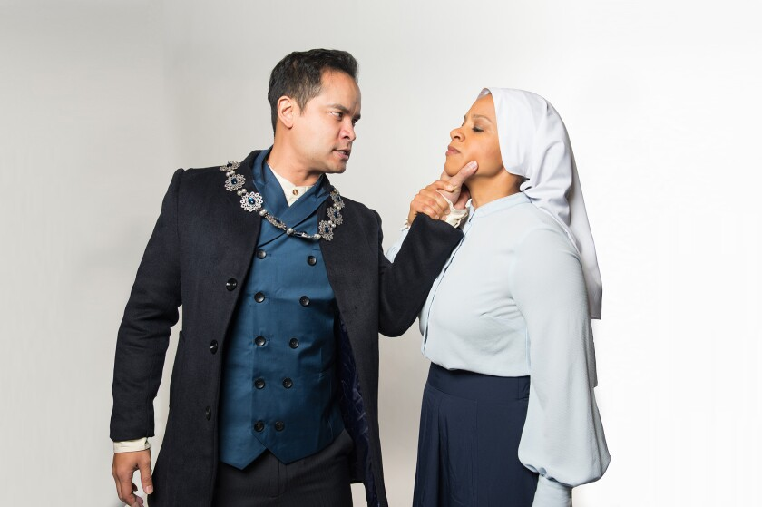 """Antaeus' upcoming production of William Shakespeare's """"Measure for Measure"""" keeps #MeToo in mind. Here, hypocritical judge Angelo (Ramon de Ocampo) appears to assert his power over Isabella (Carolyn Ratteray), a novice nun who is put in a vulnerable position when she begs Angelo to spare her condemned brother's life."""