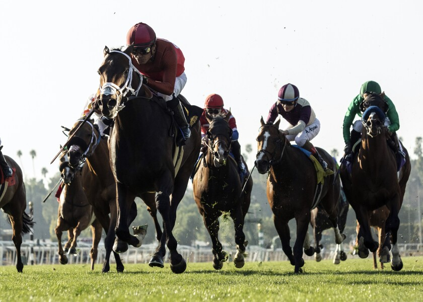Horses and jockeys race during a Grade III horse race Saturday at Santa Anita Park in Arcadia.