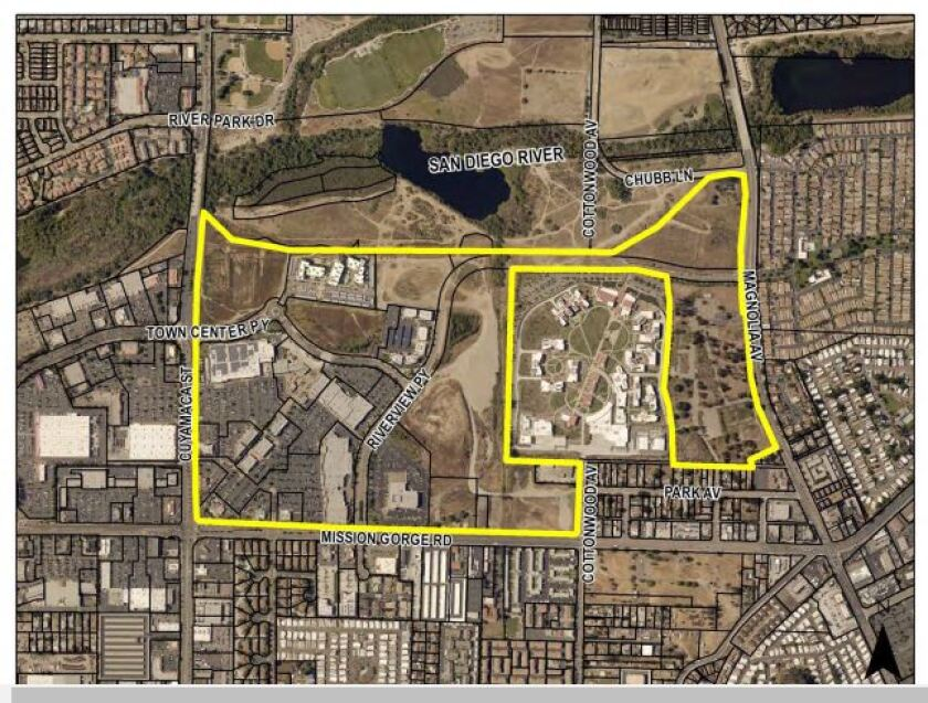 A map shows the aerial overview of a coming arts and entertainment district in Santee.