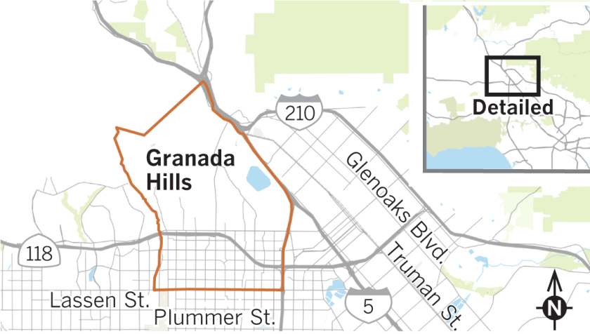 Neighborhood Spotlight: Granada Hills is satisfied with its ... on van nuys ca map, san fernando ca map, la tuna canyon ca map, united states ca map, conejo valley ca map, santa clarita ca map, lake forest ca map, cardiff by the sea ca map, downey ca map, east la ca map, la conchita ca map, arrowbear ca map, puente hills ca map, verdugo hills ca map, hammil valley ca map, goffs ca map, feather falls ca map, north hills ca map, 91354 zip code map, whitethorn ca map,