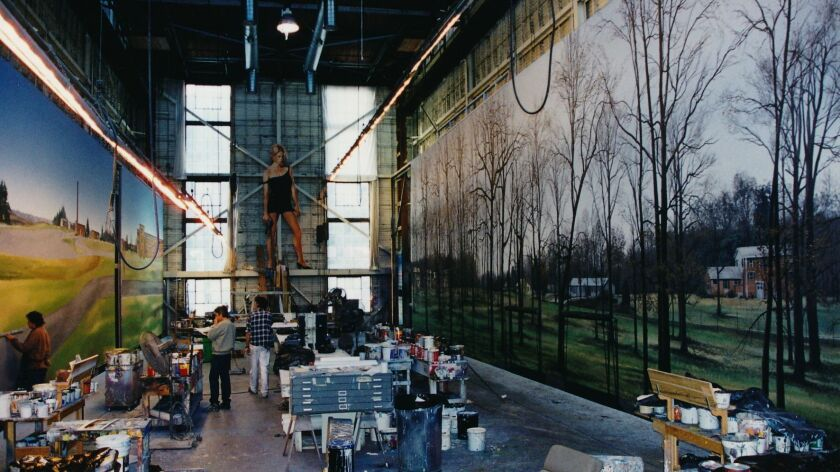 The scenic shop at Warner Bros. studios in the 1990s. At left is scenic artist Mike Denering.