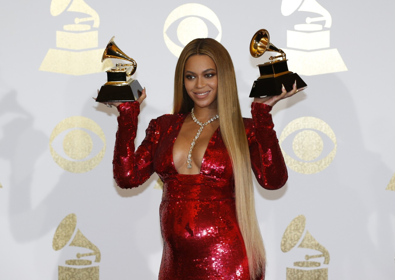 Beyonce backstage at the 59th Grammy Awards at Staples Center in Los Angeles.