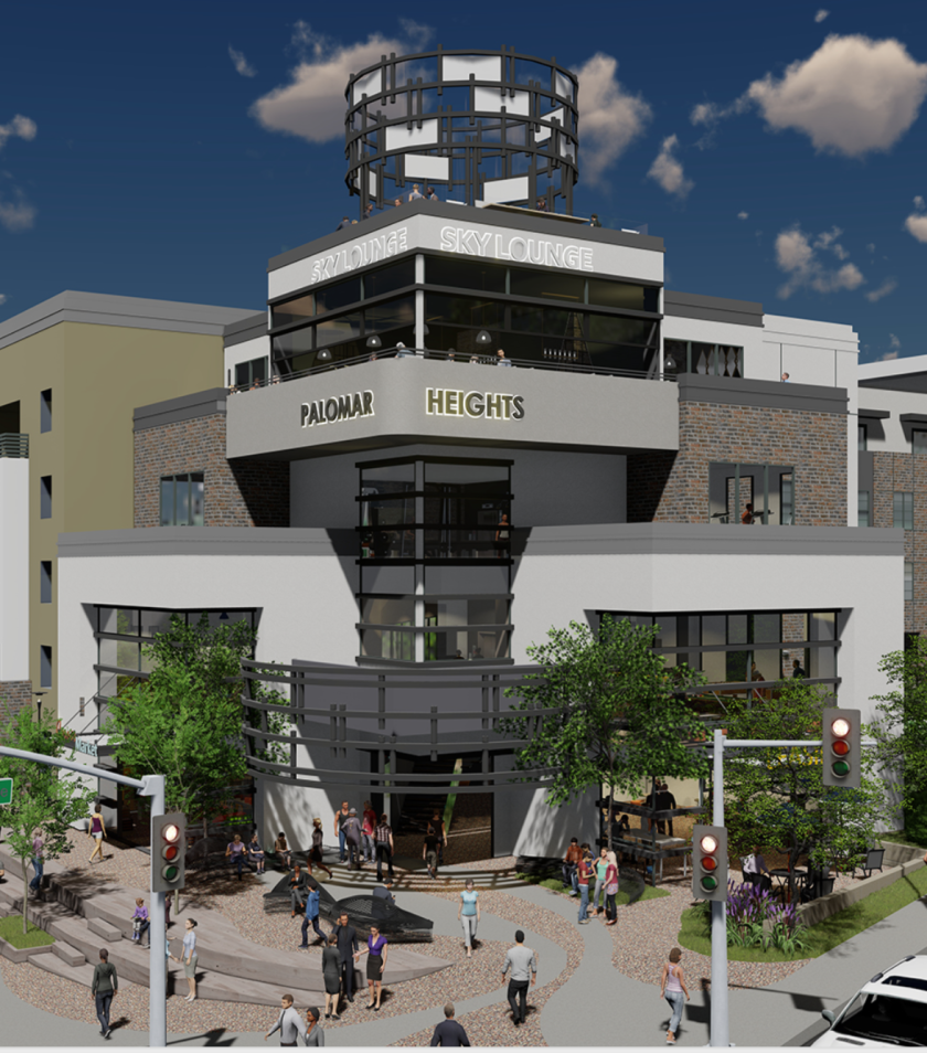 An early rendering of one side of the proposed Palomar Heights apartment/condo/row home development which would be built on the site of the former Palomar Medical Center in downtown Escondido.