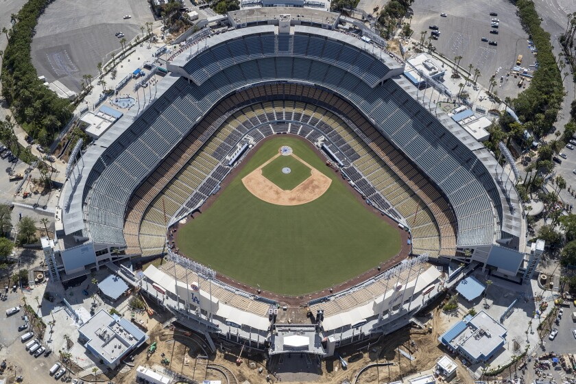 Aerial views of Dodger Stadium on March 25 amid the outbreak.