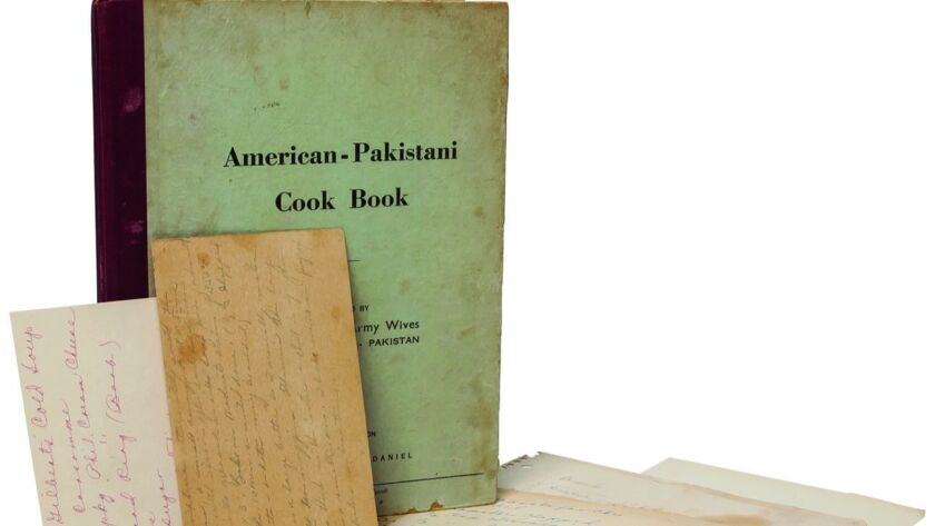 "A book jacket for an American-Pakistani cook book featured in ""By Her Own Hand: Rare Books and Manus"