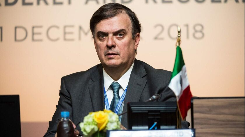 Mexican Foreign Secretary Marcelo Ebrard attends a panel during the United Nations' conference to adopt the global compact for migration in Marrakech, Morocco, on Dec. 10, 2018.