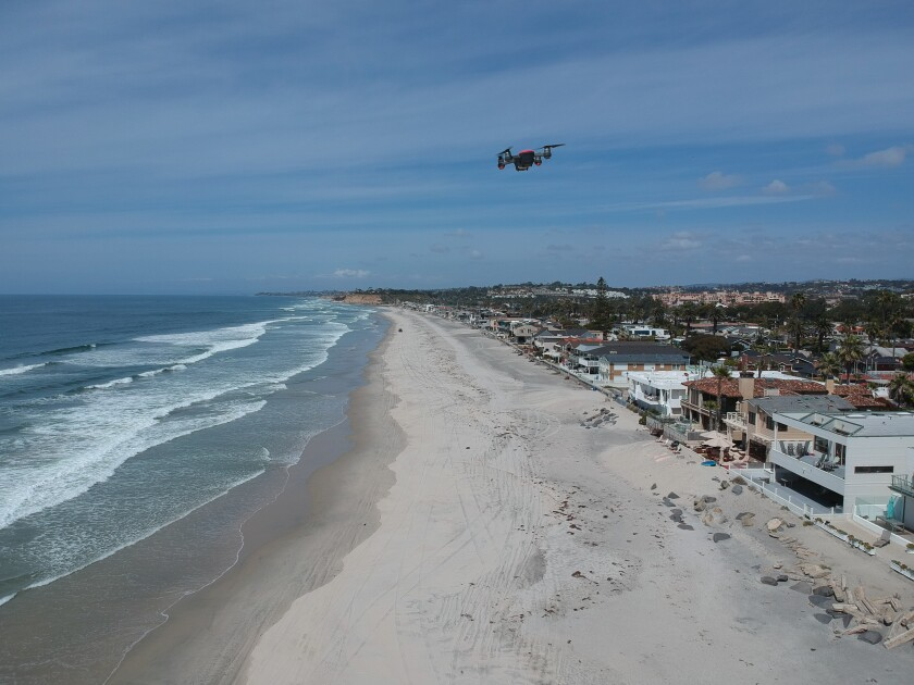 Del Mar lifeguards monitored beaches using drones when beaches were closed in March.