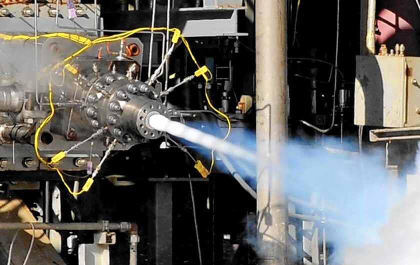 Aerojet Rocketdyne conducts hot-fire testing of a multi-element preburner injector for the AR1 rocket engine.