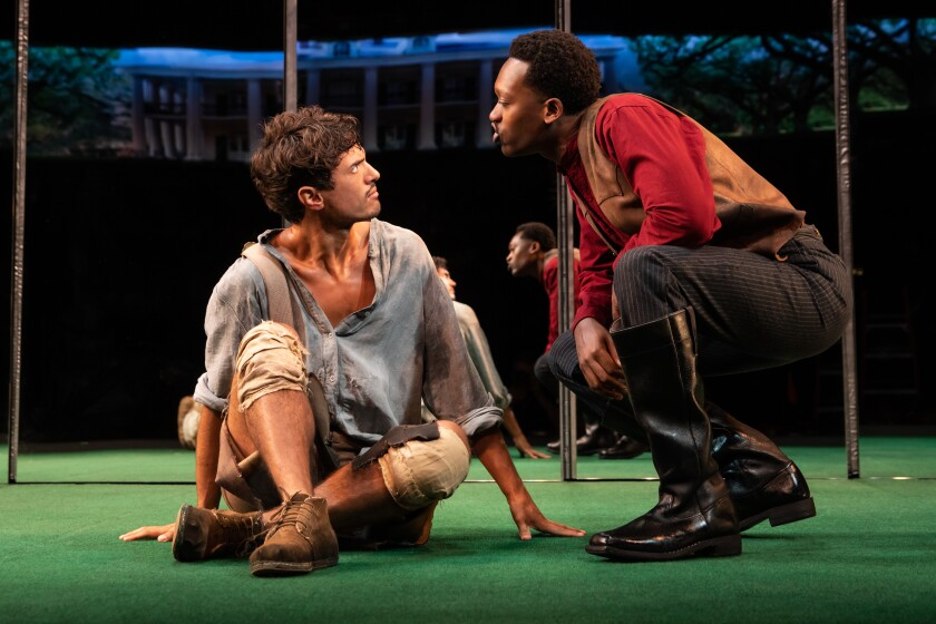James Cusati-Moyer, left, and Ato Blankson-Wood as one of the interracial couples in Jeremy O. Harris' new play.