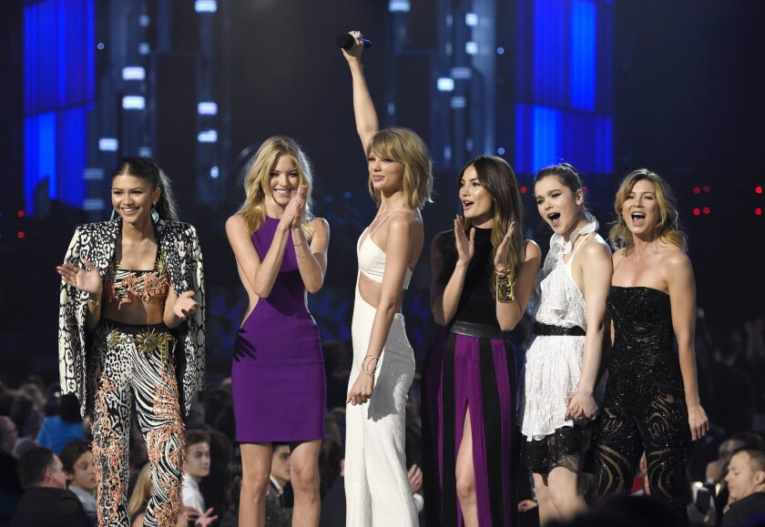 Zendaya, left, Martha Hunt, Taylor Swift, Lily Aldridge, Hailee Steinfeld and Ellen Pompeo appear at the Billboard Music Awards at the MGM Grand Hotel in Las Vegas on May 17.