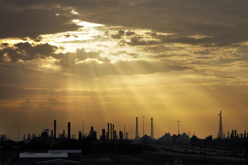 Refinery towns along the Houston Ship Channel in Deer Park, La Porte, Morgan's Point and Pasadena, Texas.