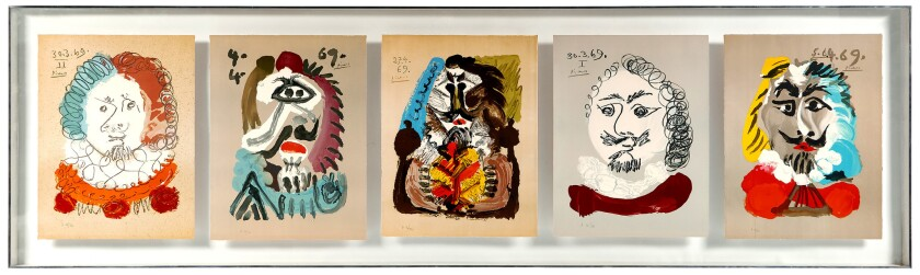 """Five Pablo Picasso lithographs from his """"Imaginary Portraits"""" series that once hung in the Los Angel"""