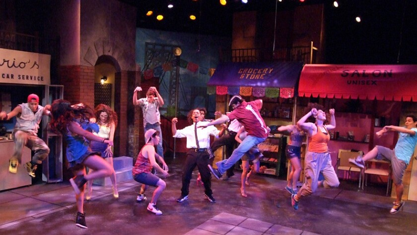 "The lively cast of ""In the Heights"" at Casa 0101."