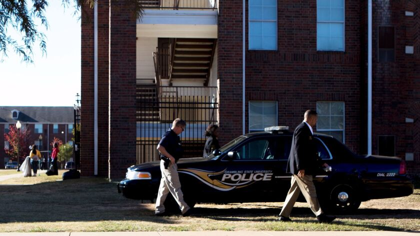 Grambling State University Police work the scene of a shooting in Grambling, La., Wednesday, Oct. 25