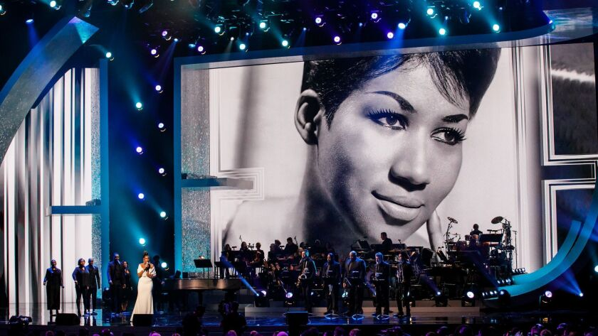 "Jennifer Hudson performs for Aretha Franklin's tribute concert, ""Aretha! A Grammy celebration for the Queen of Soul,"" at the Shrine Auditorium in Los Angeles"