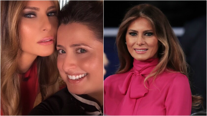Makeup artist Nicole Bryl, right, has worked with Melania Trump since an editorial shoot for People in 2006. Right: The future first lady wears a pussy-bow blouse by Gucci during 2016's presidential campaign.