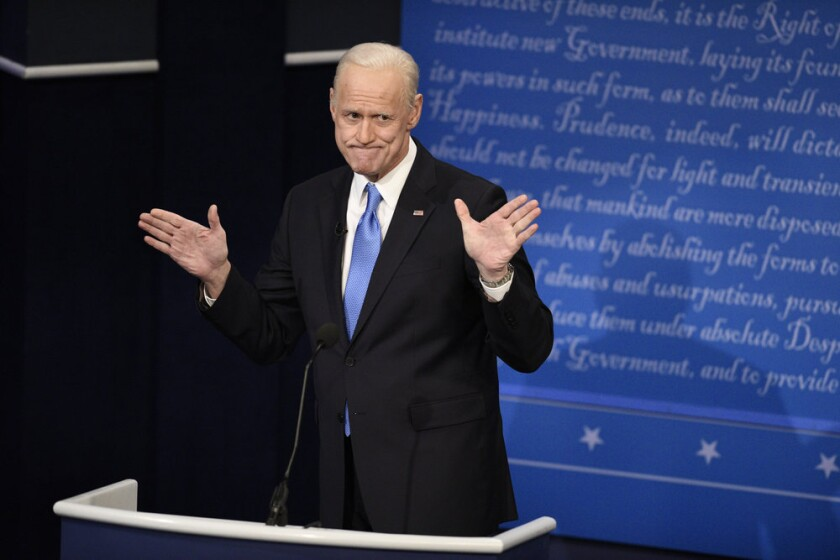 "Jim Carrey as Joe Biden during the ""Final Debate"" cold open on ""Saturday Night Live."""