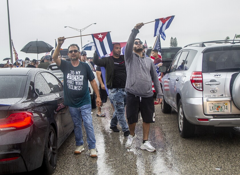 Cuban exiles block the Palmetto Expressway at Coral Way in support of protesters in Cuba July 13, 2021 in Miami.