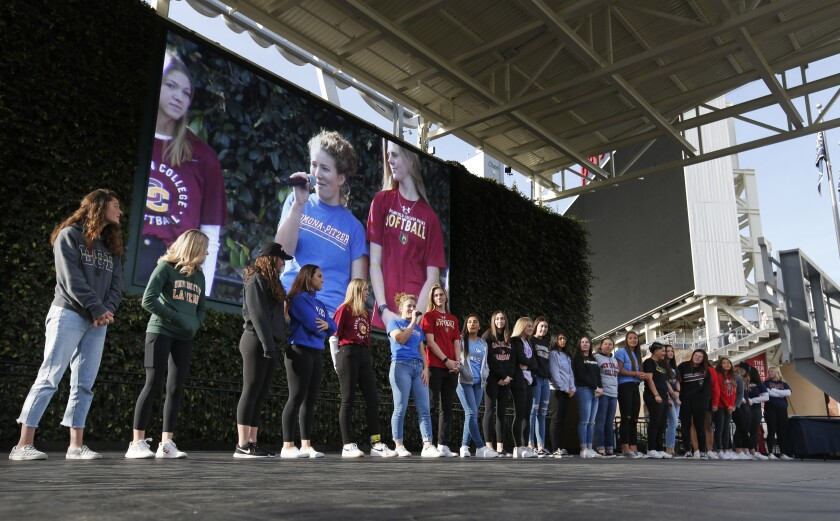 There were 103 students representing 23 high schools during Wednesday's scholarship signing party at Petco Park. A signing event also was held in November.