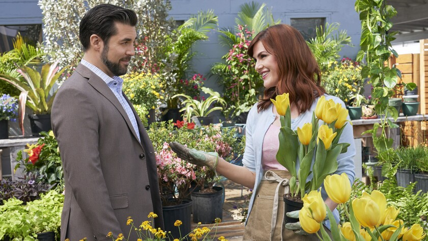 "Jordan Bridges and Sara Rue in ""True Love Blooms"" on Hallmark."