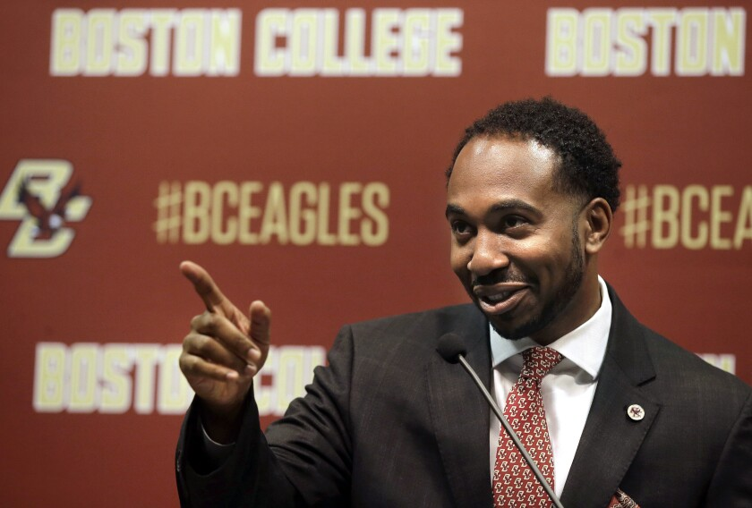 Martin Jarmond gestures after being introduced as Boston College's new athletic director in April 2017.