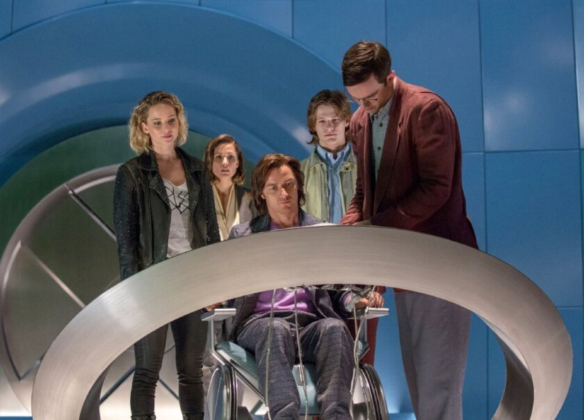 "Jennifer Lawrence, left, Rose Byrne, James McAvoy, Lucas Till and Nicholas Hoult appear in a scene from, ""X-Men: Apocalypse."""