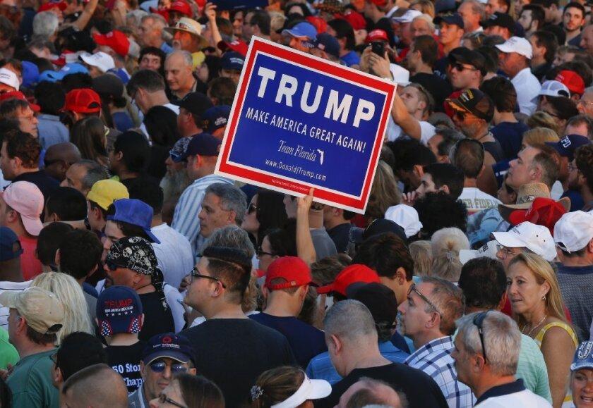 Donald Trump supporters in Boca Raton, Fla.