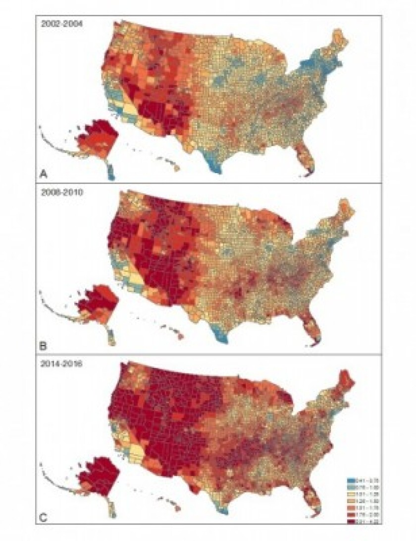 U.S. map showing suicide rates by county.