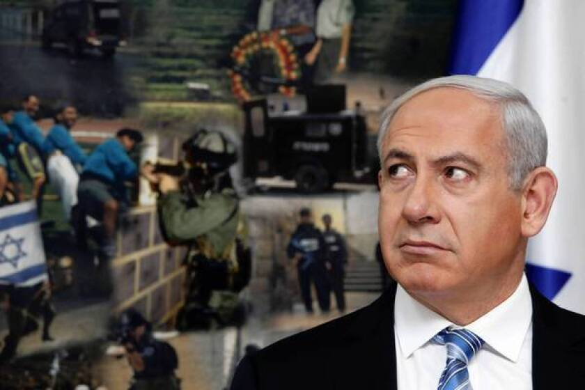 Israeli Prime Minister Benjamin Netanyahu visits national police headquarters in Jerusalem a day after a cease-fire took effect between Israel and Hamas.