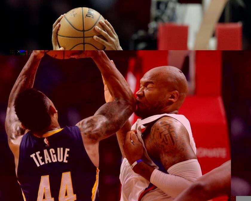 El delantero de Los Angeles Clippers, Marreese Speights, recibe un codazo de Jeff Teague, de los Indiana Pacers, en un momento del partido que han disputado esta noche en en Los Ángeles, Estados Unidos. EFE